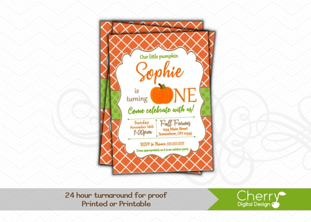 First Birthday Fall Pumpkin Birthday Party Invitations Our   Etsy