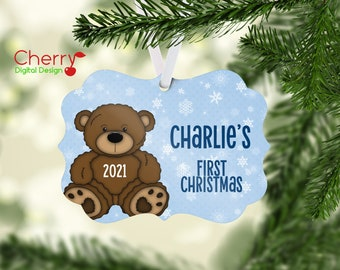 Teddy Bear Baby First Christmas  Personalized Christmas Tree Ornament | Gift with name