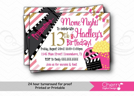 graphic regarding Movie Birthday Party Invitations Printable Free known as Video clip Evening Lady Birthday Bash Invites PRINTABLE or Posted Crimson Black Gold White