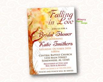Falling in Love Bridal Shower Invitations | Printed or Printable Autumn Wedding Shower Invitation | Watercolor Tree