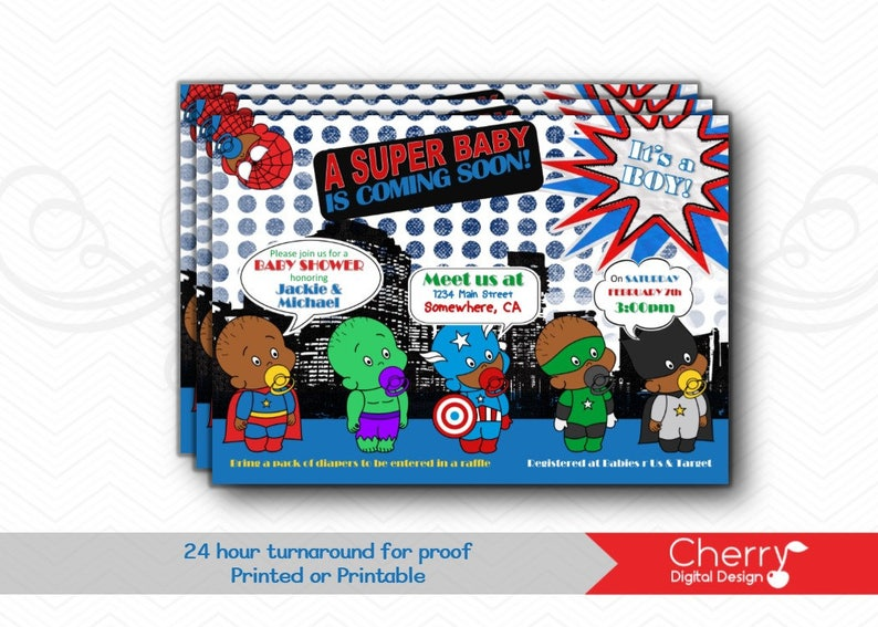 picture regarding Free Printable Superhero Baby Shower Invitations named Tremendous Hero Kid Shower Invites Revealed or Printable SuperHero Boy or girl Shower Invitation African American Little one Shower Invitations for Boy