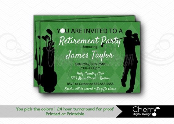 golf themed retirement party printable or printed digital etsy