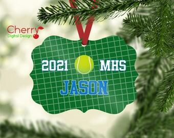 Tennis Player Personalized Christmas Ornament | Custom Sports Christmas Tree Ornament