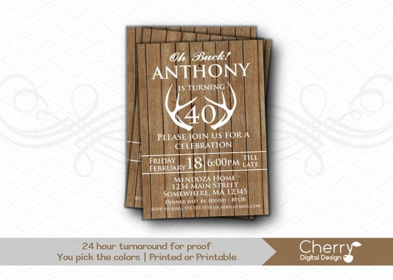 Oh Buck Rustic Wood Antler Birthday Party Invitations