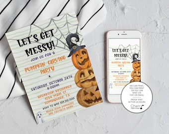 Halloween Pumpkin Carving Party Invitation | Printed or Printable