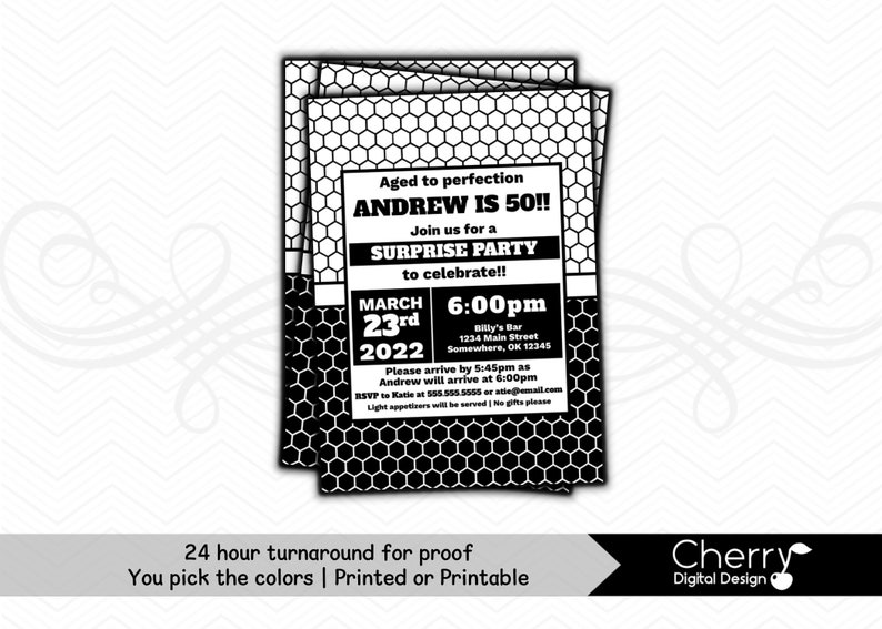 Birthday Invitation Printed Or Printable Black White Over