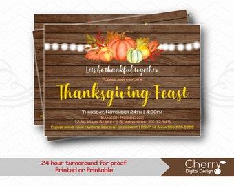 Thanksgiving Feast Party | Rustic Wood Thanksgiving Invitation | Fall Autumn | Pumpkin Squash Leaves