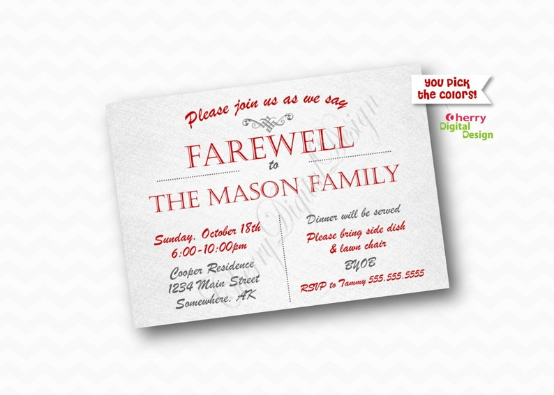 photograph about Free Printable Going Away Party Invitations referred to as Farewell Get together Invitation Published or Printable Straightforward Likely Absent Get together Invite