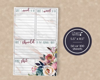 Funny Shit to do Notepad | Floral Notepad | Bridesmaid Gift | For Her