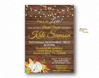 Fall White Pumpkin Bridal Shower Invitation |  PRINTED OR PRINTABLE | Fall in love invitations | Autumn Wedding shower invite
