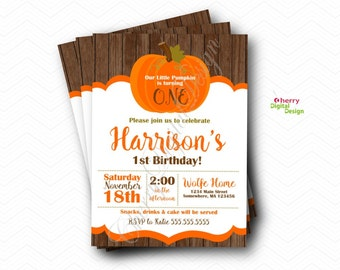 Our Little Pumpkin is turning One Birthday Party Invitations.  Birthday Party Invitation.  Pumpkin Invitation.  Fall Birthday Invitations.