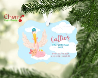 Baby First Christmas Stork Personalized Christmas Tree Ornament | Baby Stats Ornament | Gift with Name