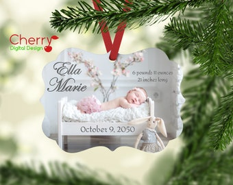 Baby Announcement Photo Christmas Tree Personalized Ornament Gift | First Christmas