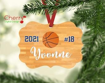 Personalized Girl Basketball Player Christmas Ornament | Custom Sports Christmas Tree Ornament