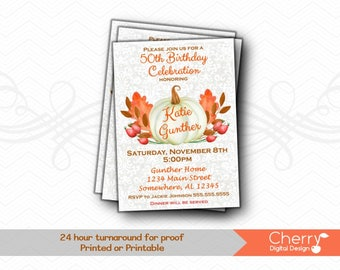 Fall White Pumpkin Birthday Party Invitations | Printed or Printable 50th Birthday Party Invites | Pumpkin Foliage