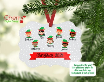 Christmas 2021 Personalized Family Ornament | Elf Family Ornament | Custom Christmas Tree Ornament | Elves
