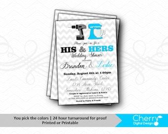 His & Hers Wedding Shower Invitations   Couples Shower Invite   Turquoise Black Gray Bridal Shower   Chevron Invitation