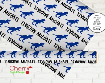 Personalized Dinosaur Wrapping Paper | Sheets or Roll |TRex Kids Custom Gift Wrap | Birthday Christmas Paper