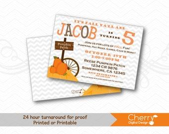 Pumpkin Patch Birthday Party Invitations | Printed or Printable Fall Birthday Invitation | Orange Brown Pumpkin Wagon