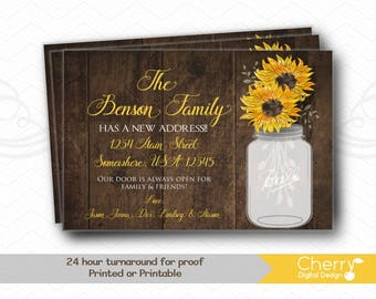 Rustic Wood Mason Jar Sunflower Moving Announcements |  Printed or Printable New Address Cards Sunflowers