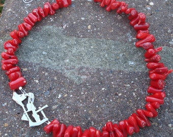 Necklace, abstract motif, silver 925, coral