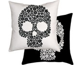 Skull Cushion, Monochrome Pillow, Flower, Black And White Decor
