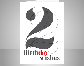 22nd Birthday Wishes Card For Him Or Her 22 Man Woman Friend Typography Design Inside Message Options