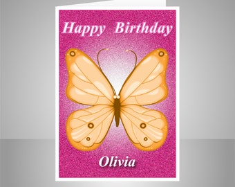 Butterfly Personalised Birthday Card For Her Edit Name Happy Wishes Girl Female Friend Mom Sister Orange Message Options