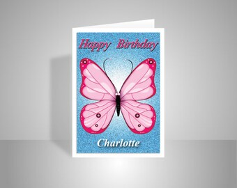 butterfly personalised birthday card for girl her edit name happy birthday wishes card for aunt friend mom sister pink message options