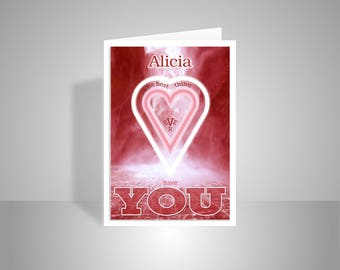 personalised name i love u valentine s day card for her etsy