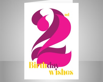 22nd Birthday Wishes Card For Girl Or Woman 22 Happy Typography Pink Daughter Niece Granddaughter Friend Message Options