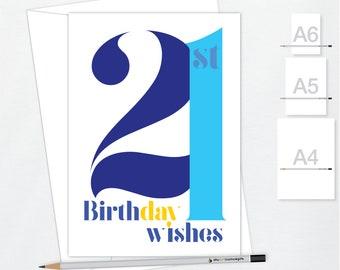 21st Birthday Wishes Card For Boy Or Girl 21 Happy Birthday Etsy