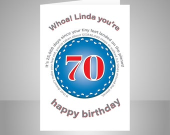 Funny 70th Birthday Card For Him Or Her Edit Name 70 Bday Wishes Dad Mom Mum Aunt Uncle Grandmother Grandfather Friend