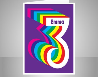 Personalised 3rd Happy Birthday Card For Boy Girl Edit Name Colourful Rainbow Number 3 Bday Message Options