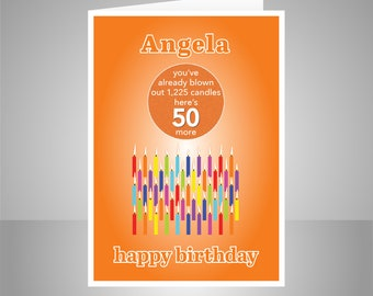 Funny 50th Birthday Card For Him Her Edit Name 50 Bday Wishes Mum Mom Dad Son Daughter Brother Sister Or Friend Candles