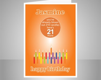 Funny 21st Birthday Card For Him Her Edit Name 21 Bday Wishes Boy Girl Son Daughter Brother Sister Or Friend Candles