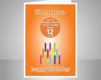Funny 12th Birthday Card For Boy Girl Edit Name 12 Bday Wishes Him Her Son Daughter Brother Sister Or Friend Candles