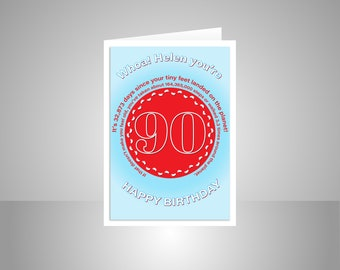 Funny 90th Birthday Card For Him Or Her Edit Name 90 Bday Wishes Dad Mom Mum Aunt Uncle Grandmother Grandfather Friend