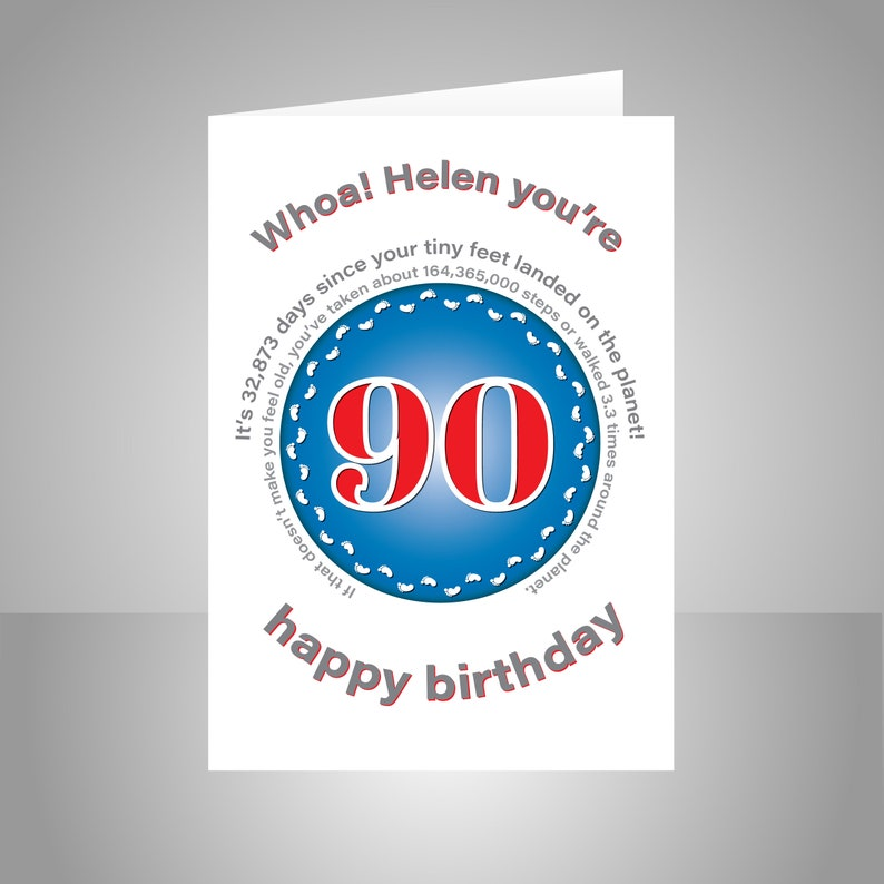 Funny 90th Birthday Card For Him Or Her Edit Name 90 Bday