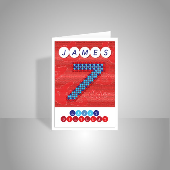 Personalised Happy 7th Birthday Card For Boy Edit Name Red