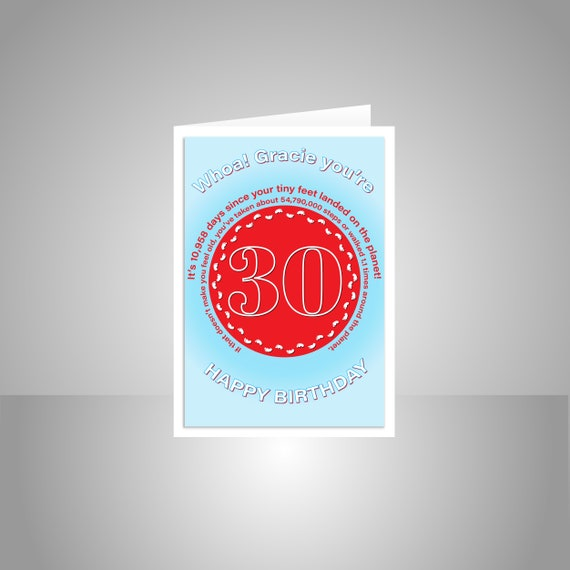 Funny 30th Birthday Card For Him Or Her Edit Name 30 Bday