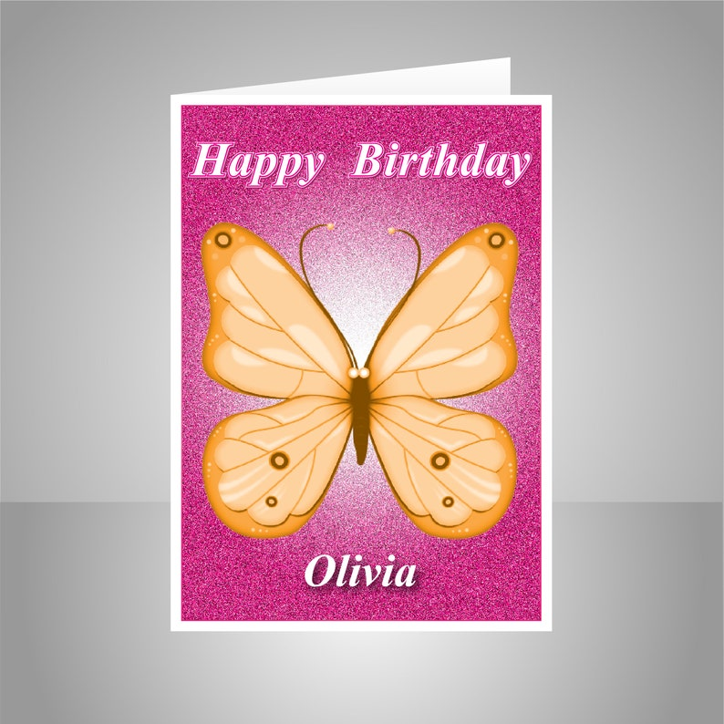 Butterfly Personalised Birthday Card For Her Edit Name Happy