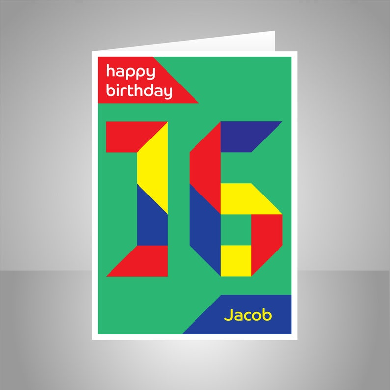 Personalised 16th Birthday Card For Boy Girl Edit Name 16