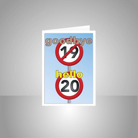 Funny 20th Happy Birthday Card For Him For Her 20 Birthday Etsy