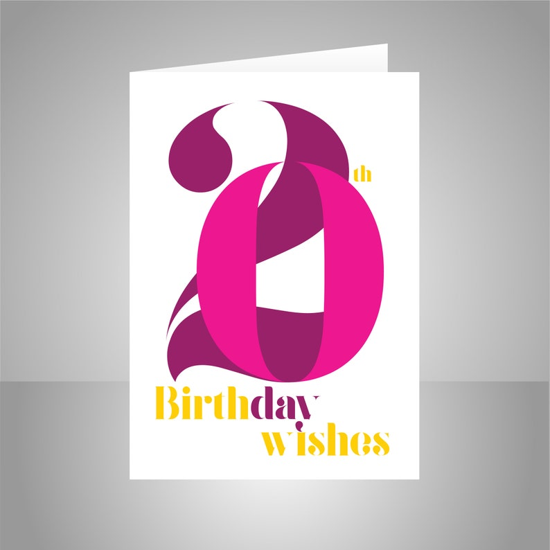 20th Birthday Wishes Card For Girl Or Woman 20 Happy