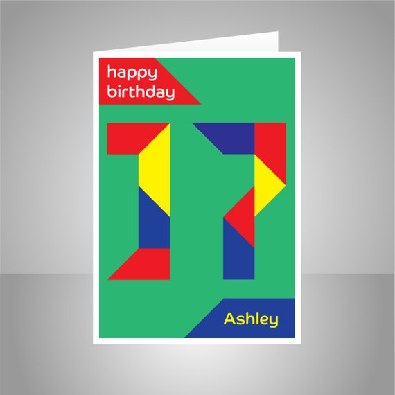 Personalised 17th Birthday Card For Boy Girl Edit Name 17