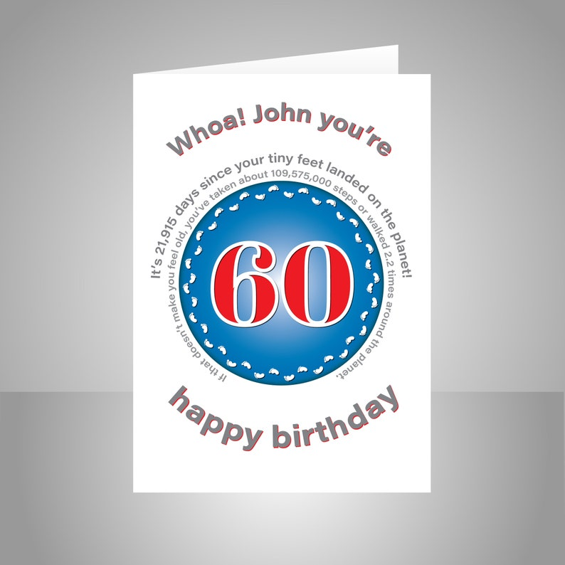 Funny 60th Birthday Card For Him Or Her Edit Name 60 Bday Wishes Dad Mom Mum Aunt Uncle Grandmother Grandfather Friend