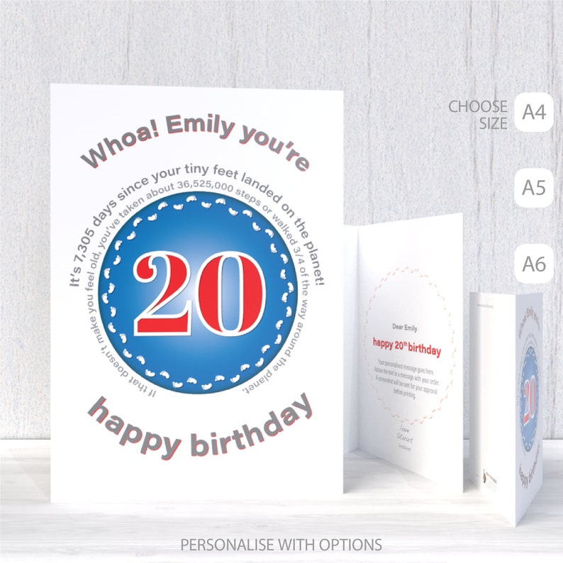 Funny 20th Birthday Card For Boy Girl Unique Edit Name 20 Bday Wishes Him Her Son Daughter Brother Sister Or Friend