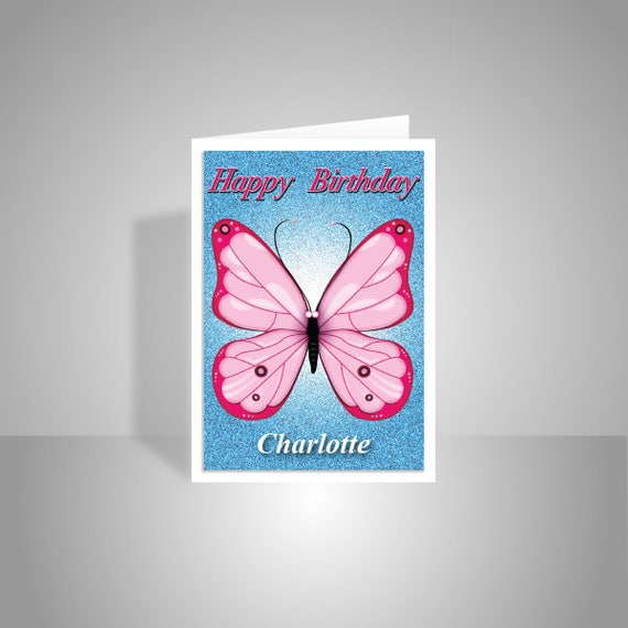 Butterfly Personalised Birthday Card For Girl Her Edit Name