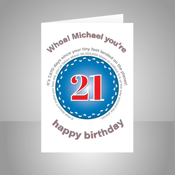Funny 21st Birthday Card For Him Or Her Unique Edit Name 21